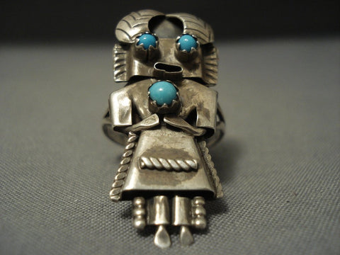 Quality Early Kachina! Vintage Navajo Snake Eyes Turquoise Sterling Native American Jewelry Silver Ring-Nativo Arts