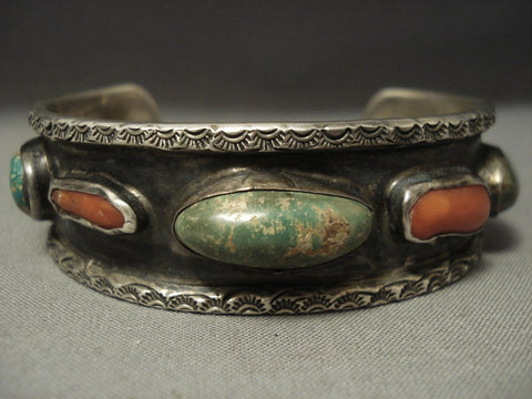 Quality Early Vintage Navajo Cerrillos Turquoise Coral Native American Jewelry Silver Bracelet-Nativo Arts