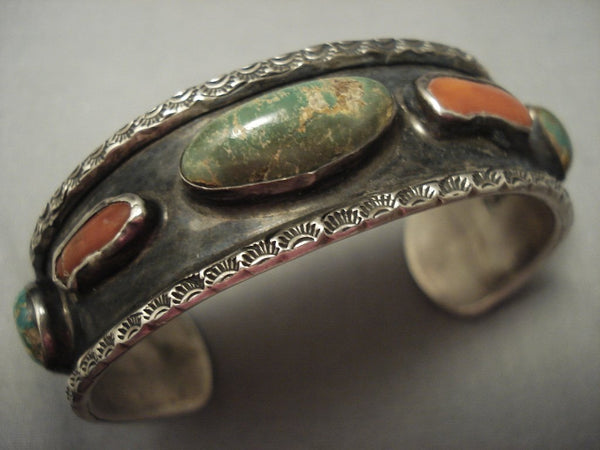 Quality Early Vintage Navajo Cerrillos Turquoise Coral Native American Jewelry Silver Bracelet
