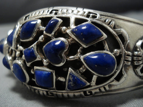 Quality Evie Johnson Vintage Native American Jewelry Navajo Lapis Sterling Silver Cuff Bracelet Old-Nativo Arts