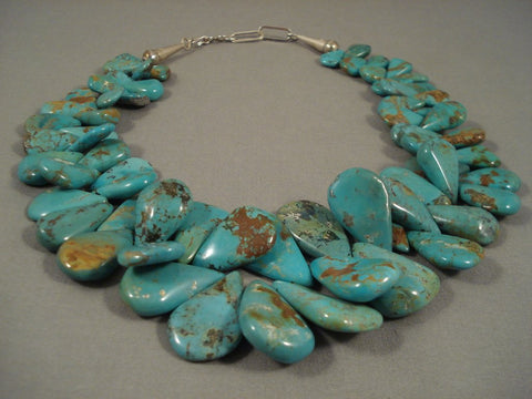 Quality Graduating Royston Turquoise Santo Domingo Sterling Native American Jewelry Silver Necklace-Nativo Arts