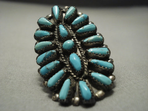 Quality Huge! Vintage Navajo Blue Gem Turquoise Sterling Native American Jewelry Silver Ring!-Nativo Arts