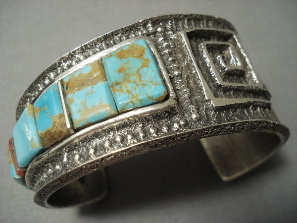 Quality Navajo #8 Turquoise Heavy Navajo Tufa Casted Sterling Native American Jewelry Silver Bracelet