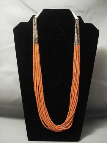 Quality Real Coral Sterling Native American Jewelry Silver Heishi Santo Domingo Necklace-Nativo Arts