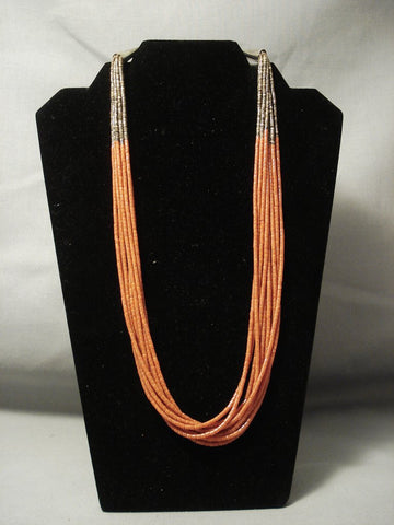 Quality Santo Domingo Tubed Coral Sterling Native American Jewelry Silver Necklace-Nativo Arts