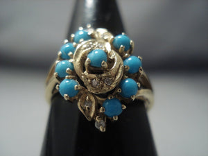 Quality Solid 14k Gold Vintage Navajo Native American Jewelry jewelry Turquoise Ring Old-Nativo Arts