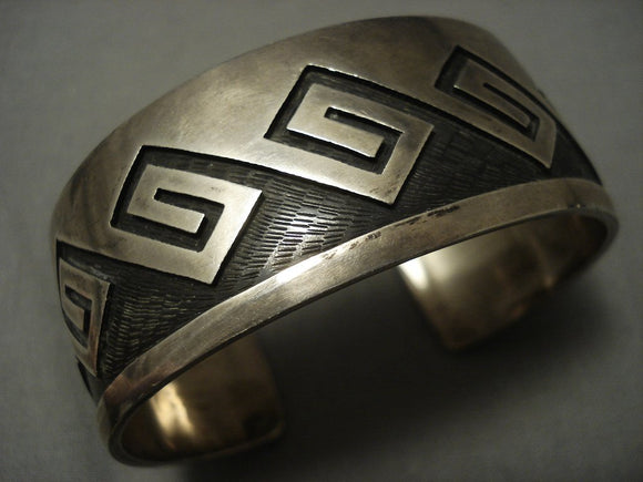 Quality Vintage Hopi Guild Sterling Native American Jewelry Silver Geometric Bracelet Old-Nativo Arts