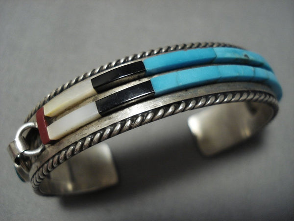Quality Vintage Native American Jewelry Navajo Turquoise Coral Sterling Silver Inlay Bracelet Cuff