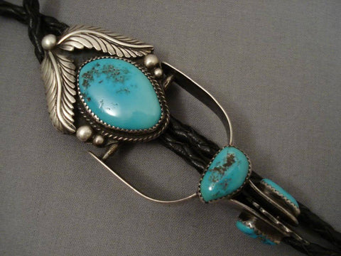 Quality Vintage Navajo 1960's Turquoise Native American Jewelry Silver Leaf Bolo Tie Old-Nativo Arts