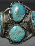 Quality Vintage Navajo #8 Turquoise Sterling Native American Jewelry Silver Bracelet Old Pawn-Nativo Arts
