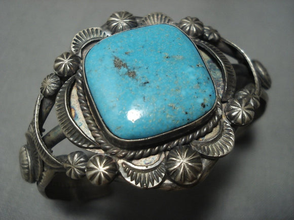 Quality Vintage Navajo #8 Turquoise Sterling Native American Jewelry Silver Bracelet Old-Nativo Arts