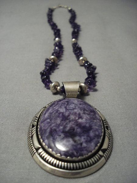 Quality Vintage Navajo **big Amethyst** Sterling Native American Jewelry Silver Necklace