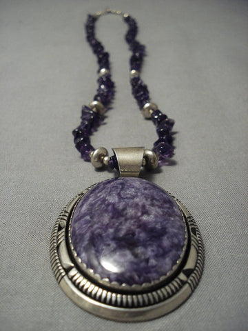 Quality Vintage Navajo **big Amethyst** Sterling Native American Jewelry Silver Necklace-Nativo Arts