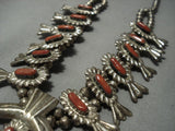 Quality Vintage Navajo Coral Sterling Native American Jewelry Silver Squash Blossom Necklace Old Pawn-Nativo Arts