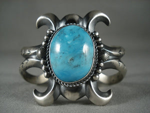 Quality Vintage Navajo 'Deep Blue Turquoise' Native American Jewelry Silver Bracelet-Nativo Arts