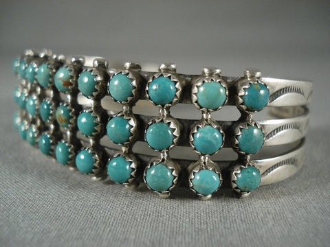 Quality Vintage Navajo 'Green Snake Eye' Turquoise Native American Jewelry Silver Bracelet-Nativo Arts