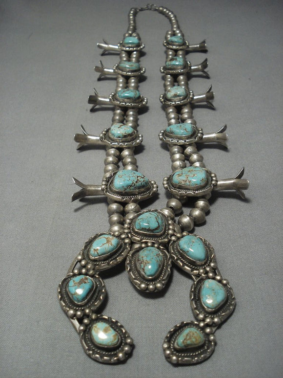 Quality Vintage Navajo Green Turquoise Sterling Native American Jewelry Silver Squash Blossom Necklace-Nativo Arts