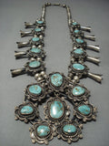 Quality!! Vintage Navajo Green Turquoise Sterling Native American Jewelry Silver Squash Blossom Necklace-Nativo Arts