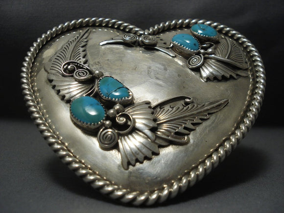 Quality Vintage Navajo Heart Sterling Native American Jewelry Silver Turquoise Buckle Old-Nativo Arts
