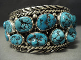 Quality Vintage Navajo Huge Turquoise Sterling Native American Jewelry Silver Bracelet- 101 Grams!-Nativo Arts