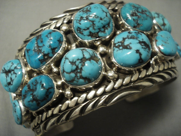 Quality Vintage Navajo Huge Turquoise Sterling Native American Jewelry Silver Bracelet- 101 Grams!