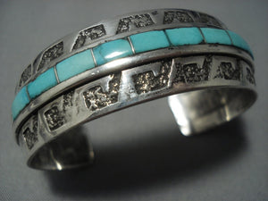 Quality Vintage Navajo Inlay Green Turquoise Sterling Native American Jewelry Silver Bracelet-Nativo Arts