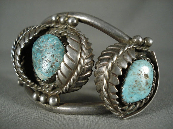 Quality Vintage Navajo 'Leaves Galore' Turquoise Native American Jewelry Silver Bracelet layaway-Nativo Arts