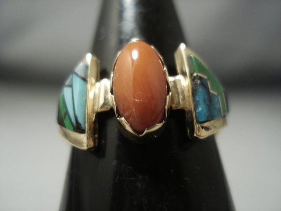 Quality Vintage Navajo Native American Jewelry jewelry Solid 14k Gold Coral Turquoise Ring Old-Nativo Arts