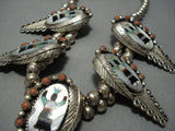 Quality Vintage Navajo Native American Jewelry jewelry Turquoise Coral Sterling Silver Squash Blossom Necklace-Nativo Arts