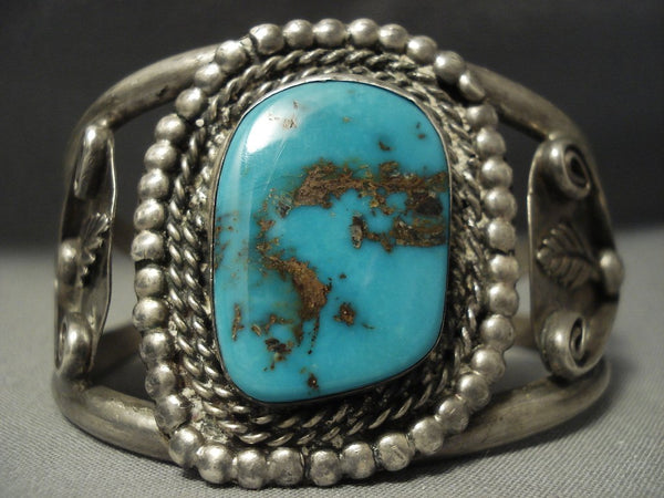 Quality! Vintage Navajo Rare Blue Royston Turquoise Sterling Native American Jewelry Silver Bracelet