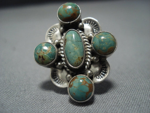 Quality Vintage Navajo Royston Turquoise Sterling Silver Ring Old-Nativo Arts
