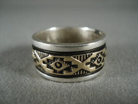 Quality Vintage Navajo 'Rug Works' Gold Native American Jewelry Silver Ring-Nativo Arts