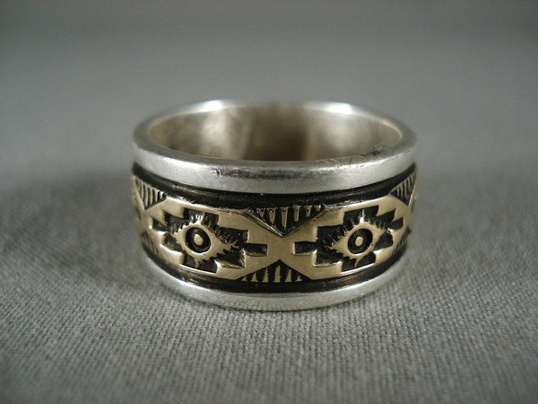 Quality Vintage Navajo 'Rug Works' Gold Native American Jewelry Silver Ring