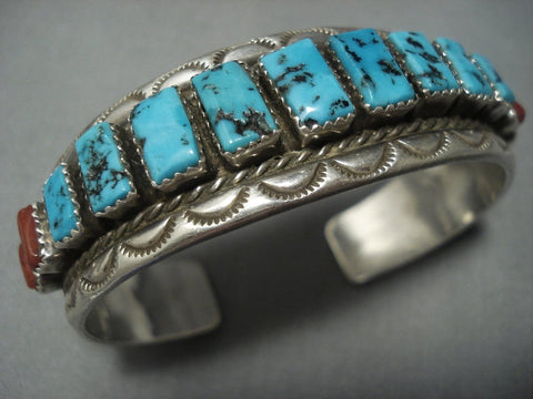 Quality Vintage Navajo Squared Turquoise Sterling Native American Jewelry Silver Bracelet Old-Nativo Arts