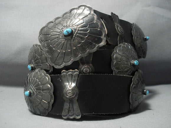 Quality Vintage Navajo Sterling Native American Jewelry Silver Turquoise Concho Belt Old Pawn-Nativo Arts