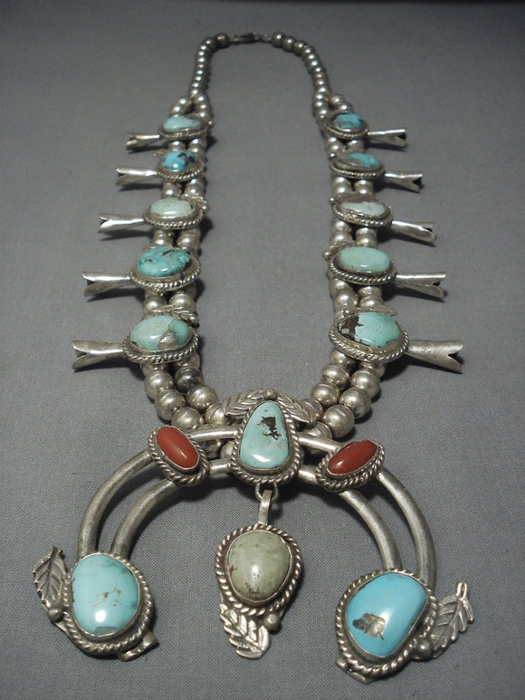 Quality Vintage Navajo Turquoise Coral Sterling Native American Jewelry Silver Squash Blossom Necklace-Nativo Arts