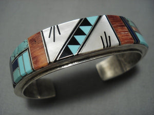 Quality Vintage Navajo Turquoise Inlay Sterling Native American Jewelry Silver Bracelet Old-Nativo Arts