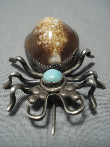 Quality Vintage Navajo Turquoise Shell Sterling Native American Jewelry Silver Bug Pin Old-Nativo Arts
