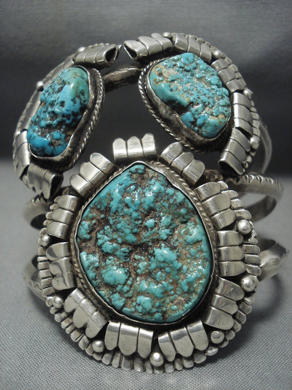Quality Vintage Navajo Turquoise Sterling Native American Jewelry Silver Bracelet Old Pawn-Nativo Arts
