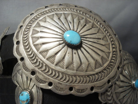 Quality Vintage Navajo Turquoise Sterling Native American Jewelry Silver Concho Belt Old-Nativo Arts