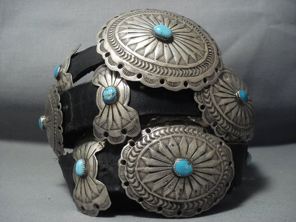 Quality Vintage Navajo Turquoise Sterling Native American Jewelry Silver Concho Belt Old
