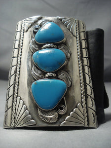 Quality Vintage Navajo Turquoise Sterling Native American Jewelry Silver Ketoh Bracelet Old Pawn-Nativo Arts
