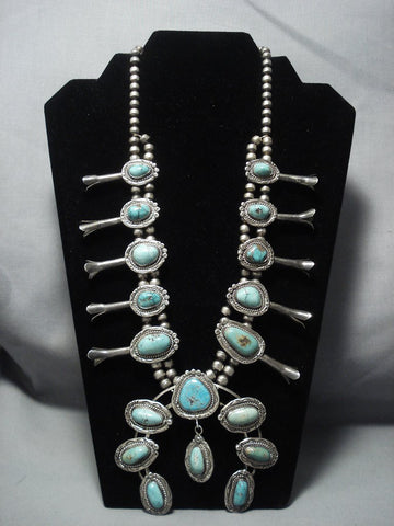 Quality Vintage Navajo Turquoise Sterling Native American Jewelry Silver Squash Blossom Necklace Old-Nativo Arts