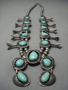 Quality!! Vintage Navajo Turquoise Sterling Native American Jewelry Silver Squash Blossom Necklace Old-Nativo Arts