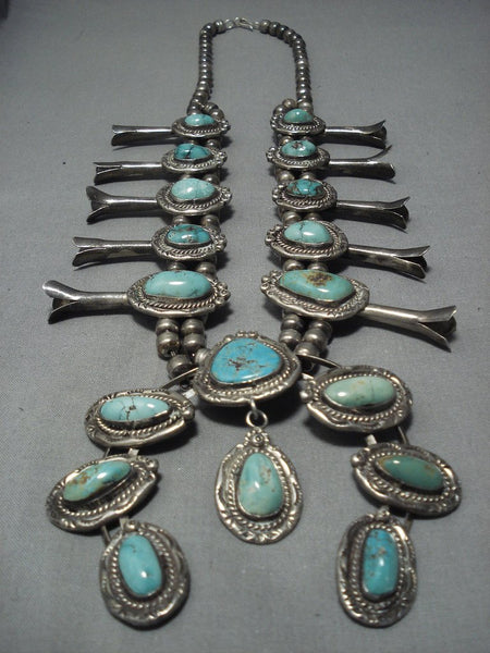 Quality Vintage Navajo Turquoise Sterling Native American Jewelry Silver Squash Blossom Necklace Old