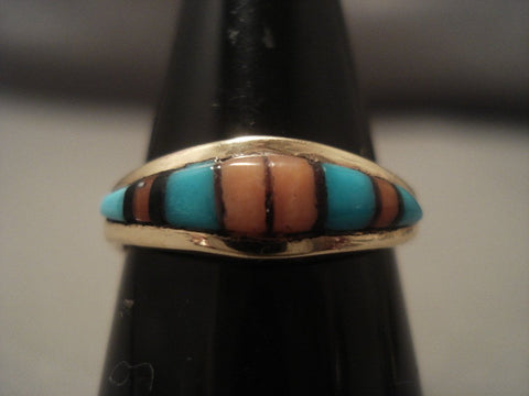 Quality Vintage Zuni 14k Gold Turquoise Coral Ring Vtg Old-Nativo Arts
