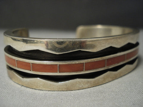 Quality Vintage Zuni Thick Coral Sterling Native American Jewelry Silver Bracelet-Nativo Arts