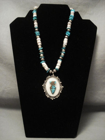 Rare Bisbee Turquoise Vintage Navajo Arrowhead Native American Jewelry Silver Necklace-Nativo Arts