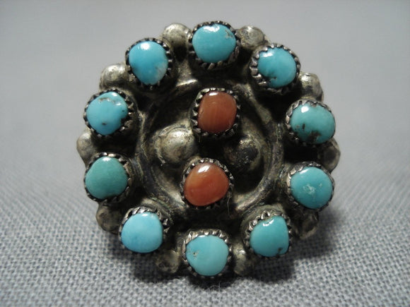 Rare Coral Turquoise Snake Eyes Sterling Silver Native American Jewelry Ring Old-Nativo Arts