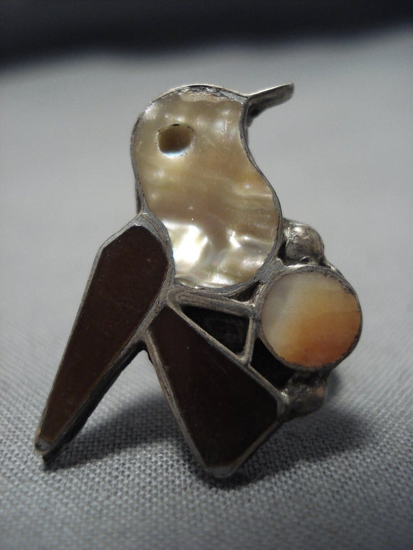 Rare Early 1900's Vintage Native American Jewelry Zuni Inlaid Sterling Silver Bird Ring Old-Nativo Arts